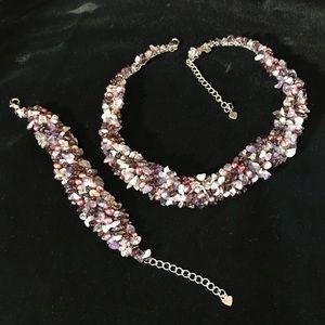 Jewelry - Handmade Amethyst Pearl &Garnet Necklace/ bracelet